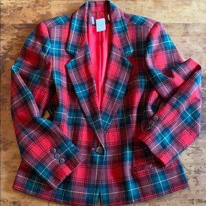 🍋VINTAGE WOOL CHRISTMAS PLAID blazer